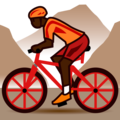 Person Mountain Biking: Dark Skin Tone on emojidex 1.0.34