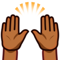 Raising Hands: Medium-Dark Skin Tone on emojidex 1.0.34