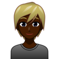 Blond-Haired Person: Dark Skin Tone on emojidex 1.0.34