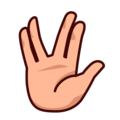 Vulcan Salute: Medium-Light Skin Tone on emojidex 1.0.34