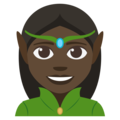 Woman Elf: Dark Skin Tone on EmojiOne 3.1