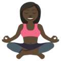 Woman in Lotus Position: Dark Skin Tone on EmojiOne 3.1
