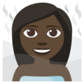 Woman in Steamy Room: Dark Skin Tone on EmojiOne 3.1