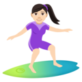 Woman Surfing: Light Skin Tone on EmojiOne 4.0