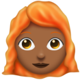 Woman, Red Haired: Medium-Dark Skin Tone on Emojipedia 6.0