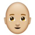 Man, Bald: Medium-Light Skin Tone on Emojipedia 11.1
