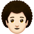 Man, Curly Haired: Light Skin Tone on Emojipedia 11.1