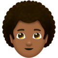 Man, Curly Haired: Medium-Dark Skin Tone on Emojipedia 11.1