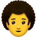 Man, Curly Haired on Emojipedia 11.1