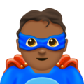 Man Superhero: Medium-Dark Skin Tone on Emojipedia 11.1
