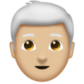 Man, White Haired: Medium-Light Skin Tone on Emojipedia 11.1