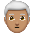 Man, White Haired: Medium Skin Tone on Emojipedia 11.1