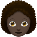Woman, Curly Haired: Dark Skin Tone on Emojipedia 11.1