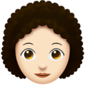 Woman, Curly Haired: Light Skin Tone on Emojipedia 11.1