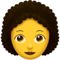 Woman, Curly Haired on Emojipedia 11.1