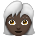 Woman, White Haired: Dark Skin Tone on Emojipedia 11.1