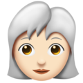 Woman, White Haired: Light Skin Tone on Emojipedia 11.1