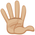 Raised Hand With Fingers Splayed: Medium-Light Skin Tone on Facebook 2.1