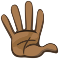 Raised Hand With Fingers Splayed: Dark Skin Tone on Facebook 2.1