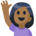 Woman Raising Hand: Medium-Dark Skin Tone on Facebook 2.1