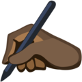 Writing Hand: Dark Skin Tone on Facebook 2.1