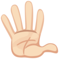 Raised Hand With Fingers Splayed: Light Skin Tone on Facebook 2.2
