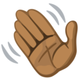 Waving Hand: Medium-Dark Skin Tone on Facebook 2.2