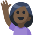 Woman Raising Hand: Dark Skin Tone on Facebook 2.2