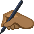 Writing Hand: Medium-Dark Skin Tone on Facebook 2.2