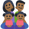 Family - Man: Medium-Dark Skin Tone, Woman: Medium-Dark Skin Tone, Girl: Medium-Dark Skin Tone, Girl: Medium-Dark Skin Tone on Facebook 2.2.1