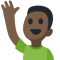 Man Raising Hand: Dark Skin Tone on Facebook 2.2.1