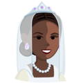 Bride With Veil: Dark Skin Tone on Messenger 1.0
