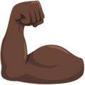 Flexed Biceps: Dark Skin Tone on Messenger 1.0