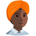 Person Wearing Turban: Dark Skin Tone on Messenger 1.0