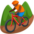 Person Mountain Biking: Medium-Dark Skin Tone on Messenger 1.0