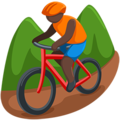 Person Mountain Biking: Dark Skin Tone on Messenger 1.0