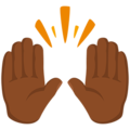 Raising Hands: Medium-Dark Skin Tone on Messenger 1.0