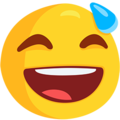 Smiling Face With Open Mouth & Cold Sweat on Messenger 1.0