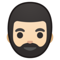 Bearded Person: Light Skin Tone on Google Android 8.0