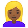 Blond-Haired Woman: Medium-Dark Skin Tone on Google Android 8.0