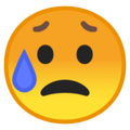 Disappointed but Relieved Face on Google Android 8.0