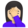 Person Facepalming: Light Skin Tone on Google Android 8.0