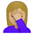 Person Facepalming: Medium-Light Skin Tone on Google Android 8.0