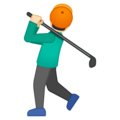 Person Golfing: Light Skin Tone on Google Android 8.0