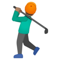 Person Golfing: Medium Skin Tone on Google Android 8.0