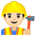 Man Construction Worker: Light Skin Tone on Google Android 8.0