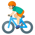 Man Biking: Light Skin Tone on Google Android 8.0
