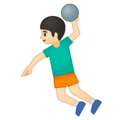 Man Playing Handball: Light Skin Tone on Google Android 8.0