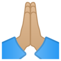 Folded Hands: Medium-Light Skin Tone on Google Android 8.0