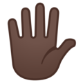 Raised Hand With Fingers Splayed: Dark Skin Tone on Google Android 8.0